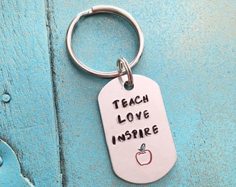 Hand Stamped Mini Teacher Keychain, Teach Love Inspire Teacher Appreciation Gift, Gift For Teacher, Teacher Keyring, Teacher Christmas Gift