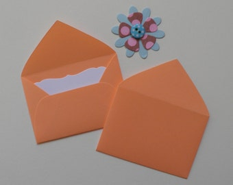 Peach Mini envelopes with inserts, Paper ephemera, Paper embellishments, Journaling, Project Life, Little party favors, Sets of 10, 25, 50