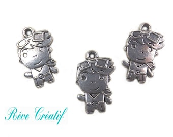 Pendants boy child charms, 23mm x 14mm, hole 23x14mm, thickness 2.5 mm, hole 2 mm, silver, 10 pieces
