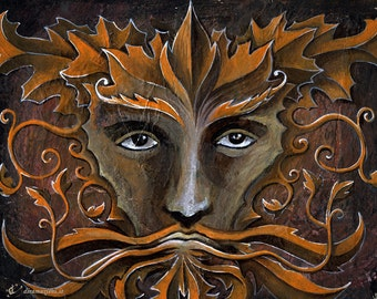 Autumn Greenman - Mabon - original painting