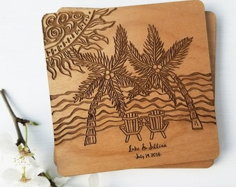 Personalized Coasters, Custom Wedding Coasters Favors, Personalized Wedding Favors, Personalized set of coasters, Wood drink coasters