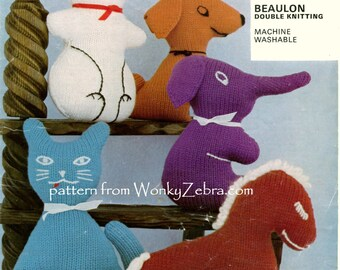 Vintage Knit Knitted Knitting Rabbit Cat Horse Elephant Dog Patterns PDF 567 from WonkyZebra