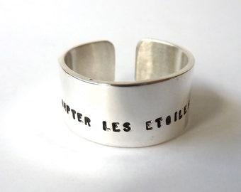 Adjustable silver cuff personalized, custom