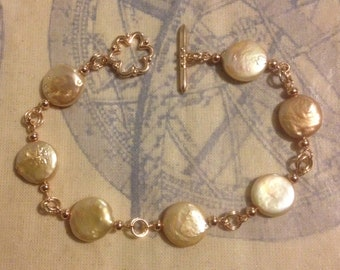Peach Coin Pearl Bracelet in Rose Gold Plated Silver
