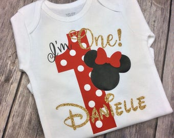 Red, Black and Gold Glitter Minnie Mouse I'm One Birthday Girl Personalized Onesie or Shirt, 1 Year Old, First Birthday, One Year Old