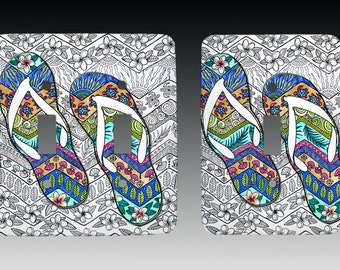 Tropical Flip Flops Art, Switchplate, Lightswitch Cover, Lightswitch Plate
