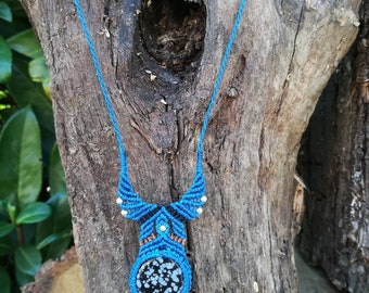 Small silver beads with speckled Obsidian macrame necklace