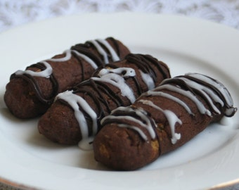 Chocolate Cocoa Logs with a Lemon and Dark Chocolate Drizzle (TWO DOZEN)