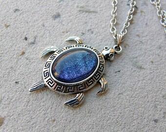 Sea Turtle Necklace, Turtle Choker, turtle necklace, turtle lover necklace, turtle gift idea, Aquarius, Pisces, Libra, Sagittarius, Galaxy