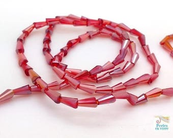 Red/pink AB: 20 conical beads faceted glass, 3.5x6mm (pv613)