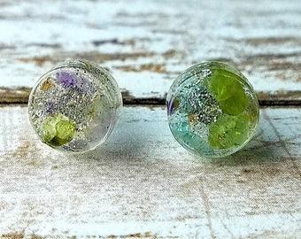 Resin Gemstone Earrings, Gemstone Studs, Amethyst Posts, Silver Glitter Jewelry, Geometric Gift, Minimalist Earrings, Birthstone Jewelry