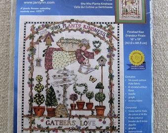 Gardening Counted Cross Stitch Kit plants planting Janlynn 2000