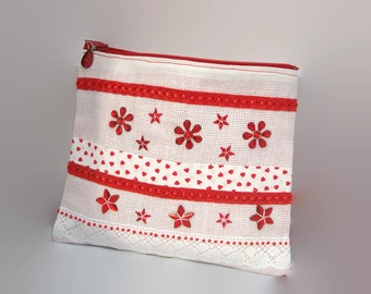 Canvas clutch toiletry aida white, Ribbon and red flowers handmade