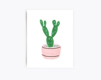 Cactus Art Print - Prickly Pear - 8x10