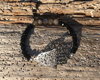 Sterling silver Hamsa hand bracelet