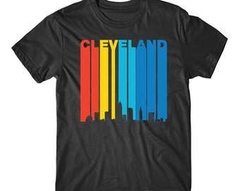 Retro 1970's Style Cleveland Ohio Cityscape Downtown Skyline Shirt