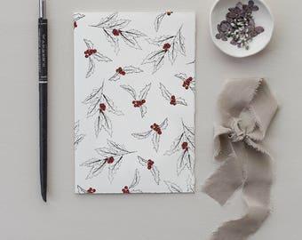 Christmas Holly Card | Mistletoe Christmas Card | Set of 8 Holiday Cards | blank Christmas card, holiday stationery, festive holiday card