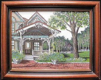 H. Hargrove Original Oil Painting of a Victorian House with Gazebo