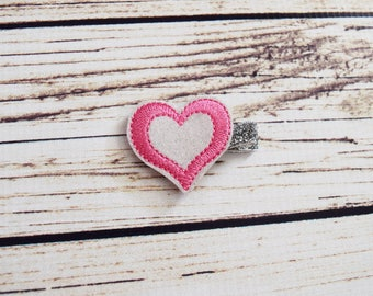 Handcrafted White Silver and Pink Glitter Heart Clip - Valentines Baby Bow - Sparkly Hair Clip - Cute Baby Bows - Valentine Heart Baby Girl