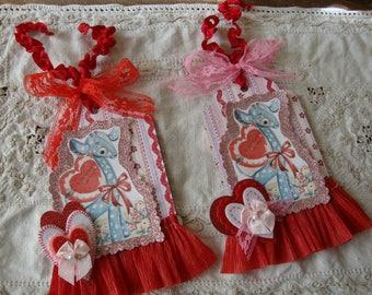 Valentine's Day gift tags cute giraffe vintage valentine card tag mixed media paper art tag ornament valentine's home decor
