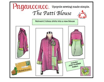 Patti Blouse Sewing Pattern & Judy Flower. Upcycle sewing Refashion mens dress shirts to womans blouse. Tunic Top pattern.  Petite Plus Size