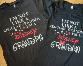 Handmade custom Disney Grandparent t-shirt; I'm Not like a regular mom Disney shirt; men's Disney shirt; Grandma Disney Vacation shirt