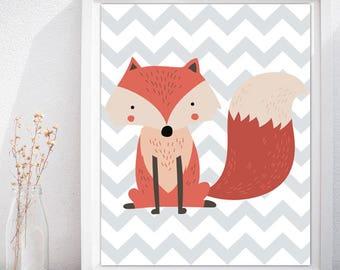 Nursery Wall Art Fox Poster, Fox Printable Kids Room, Fox Wall Art, Fox Nursery Art Print, Fox Nursery Art, Nursery Fox Poster Print
