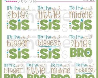 Brother Clipart, Sister Clipart, Sibling Clipart, big brother, little brother, big sister, little sister, bro, sis, Instant download
