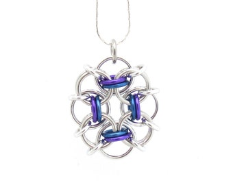 Blue and Purple Chain Maille Pendant, Multicolor Jewelry, Jump Ring Necklace