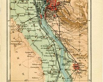 Vintage Map of Cairo and Egyptian Pyramids C.1907 - Vintage Decor Art Print - Ancient Egypt Cartography, Christmas Gift - Travel