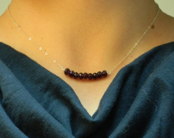 Garnet Carrie necklace in sterling silver
