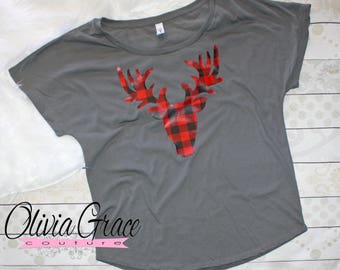 Buffalo Plaid Christmas Shirt for Women, Reindeer Shirt for Ladies Buffalo Check Christmas Shirt Deer Shirt for Women, Red and Black Plaid T