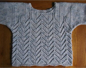 Hand knitted short sleeved sweater stitch openwork blue gray and white cotton, viscose, linen