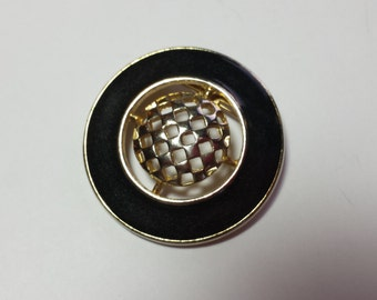 Black and Gold Tone Pendant/Brooch