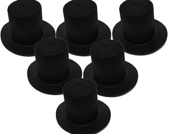 Black Mini Flocked Felt Stovepipe Top Hats - 6 PACK