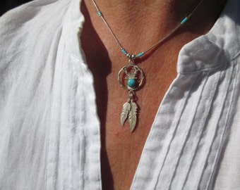 Turquoise and Sterling Road Runner and Feathers Necklace on Liquid Silver Chain