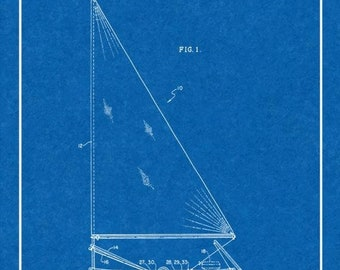 CLEARANCE - Sailboat Patent Print - 18x24 Blueprint with Border