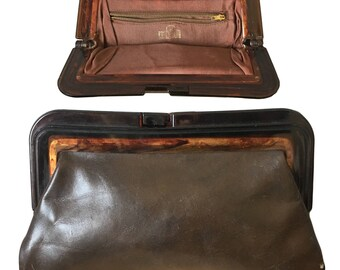 Vintage MARGOLM Leather Clutch With Tortoise Frame