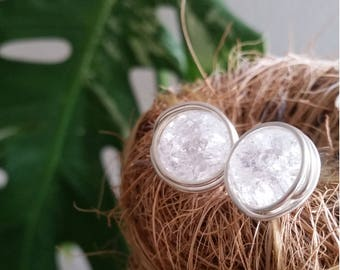 Boho rock crystal wire wrapped 925 sterling silver Stud Earrings
