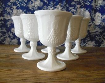 Milk Glass Goblets Set of 2 Indiana Harvest Grape Pattern Bright White Vintage Wedding Milk Glass Farmhouse Style Drinking Glasses Barware