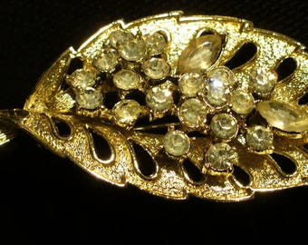 Two Vintage Gold & Rhinestone Brooches