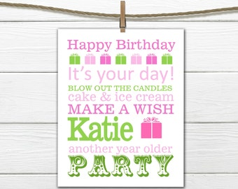 Birthday Poster Word Art Digital Download custom colors PDF
