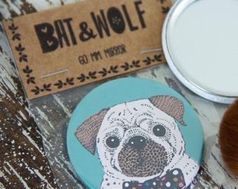 Illustrated Pug Pocket Mirror