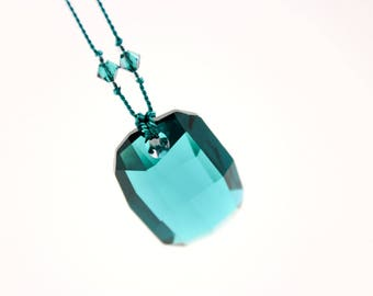 Emerald Green Crystal Necklace, Swarovksi on Knotted Silk Cord