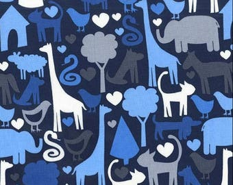 Safari Friends in Navy by Michael Miller Fabrics