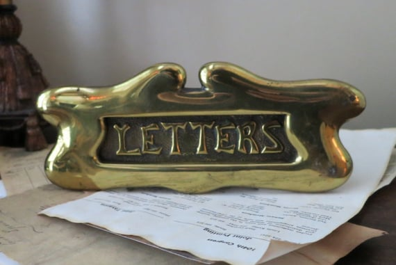 Art Nouveau Brass LETTER Mail Slot Front Door Plate Antique Architectural  Vintage Hardware from CaughtMyFancy on Etsy Studio - Art Nouveau Brass LETTER Mail Slot Front Door Plate Antique