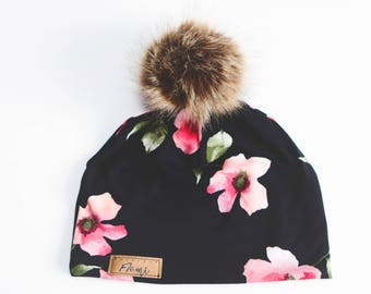 Hat Black pink flowers NO DOUBLED with or without pompom - baby children adult