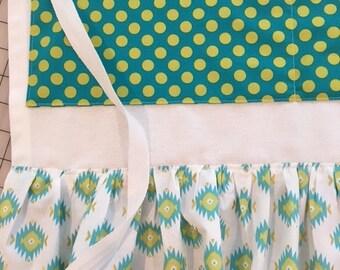 SALE Half Apron Teal Dot  Michael Miller Fabrics  Raw Edge Ruffle Crafter Farmers Market Apron