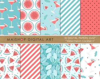 Red and Blue Digital Paper 'Watermelon Cocktail II' Scrapbook Papers for Scrapbooking, Invitations, Stickers, Crafts, Decoupage, Cards...