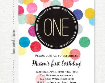 1st birthday invitation rainbow confetti and glitter, first birthday party invitation for girl or boy, modern design one digital invitation